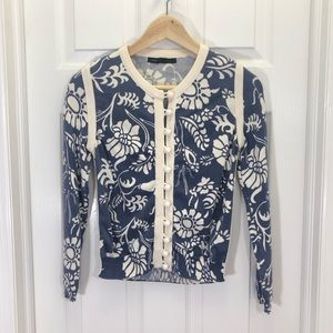 Marc Jacobs Navy Floral Ball Buttons Cardigan